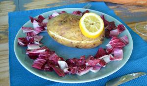 Pomme de terre au four à la crème de citron et saumon