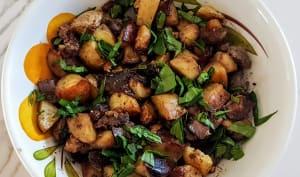 Pommes de terre à la salardaise et foies de volaille confits
