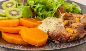 Échine de porc à la crème de kiwis et patates douces