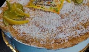 Dacquoise au citron vert, coco et framboises