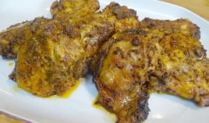 Hauts de cuisse de poulet à la portugaise et smashed potatoes