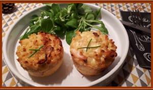 Muffins de coquillettes, poulet et Comté
