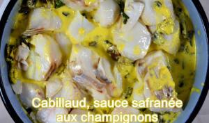 Cabillaud, sauce safranée aux champignons