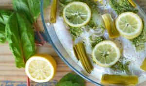 Dos d'églefin au pesto d'oseille, citron et poireau