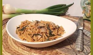 One pot pasta aux aiguillettes de poulet, champignons et blettes