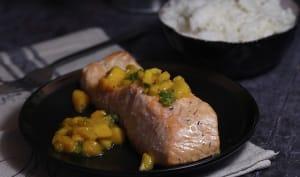 Filet de saumon mangue basilic