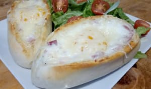 Les egg boats jambon fromage