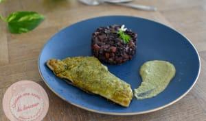 Dorade viennoise ail des ours, riz noir et crème de petit pois fenouil