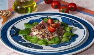 Taboulé de trio de quinoa au poulpe, citron et ail des ours