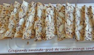Craquants amande grué de cacao orange confite