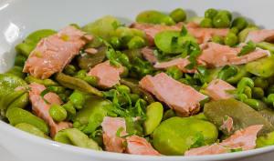 Salade de saumon aux fèves, pois gourmands et petits pois