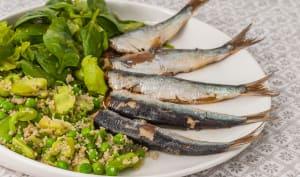 Sardines, semoule aux fèves, petits pois et fines herbes