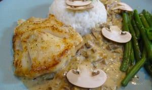 Dos de cabillaud sauce Madère et champignons