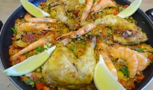 Paella andalouse aux Gambas et au poulet