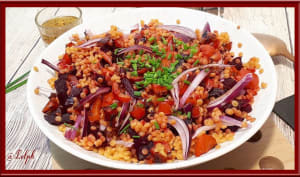 Salade de pâtes, betterave et poivron
