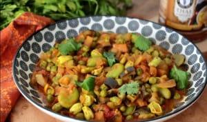 Curry de fèves et petits pois