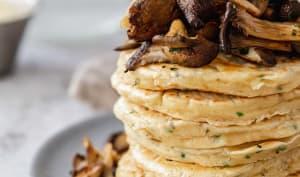 Pancakes salés et pleurotes poêlés