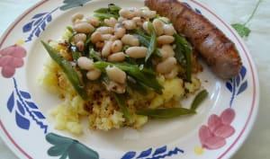 Haricots blancs et haricots plats sur purée de pommes de terre