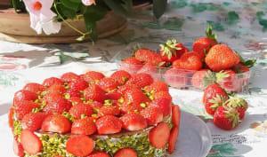 Gâteau magique fraise pistache