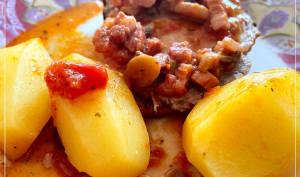 Rôti d'échine de porc et ses pommes de terre