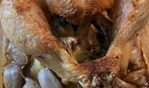 Poulet rôti au four ail, thym et citron