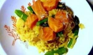 Risotto asperges vertes, orange et saumon cru