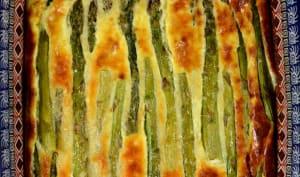 Clafoutis d'asperges vertes, amandes et parmesan