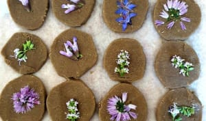 Sablés fleuris au sarrasin et parmesan