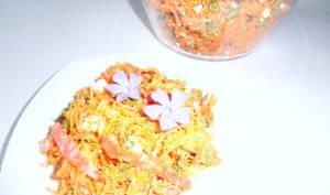 Salade de carottes et navet râpés aux feuilles d'aubépine à la grecque