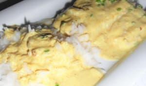 Cabillaud sauce au curry et ciboulette sauvage