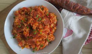 Riz aux poivrons, chorizo et pulpe de tomates