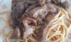 Spaghetti à l'émincé de bœuf façon lok lak