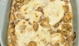 Gnocchis sauce aux champignons gratinés à la mozzarella