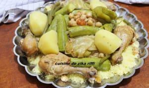 Couscous aux pilons de poulet fermier et légumes