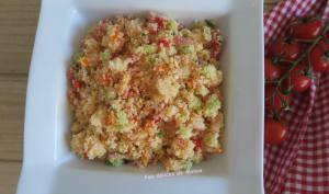 Taboulé aux légumes, crevettes et pamplemousse