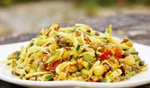 Salade alcaline de lentilles et crudités marinées