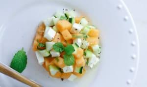 Tartare de melon, vinaigrette menthe et miel