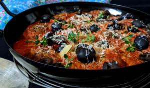 Boulettes d'aubergines ricotta à la sauce tomate