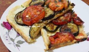 Tarte aux aubergines et tomates confites