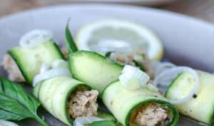 Roulés de courgettes à l'émietté de thon citron et basilic
