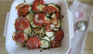 Gratin de courgettes et tomates aux câpres, anchois et cancoillotte
