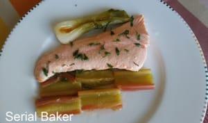 Saumon et rhubarbe rôtie au vinaigre balsamique