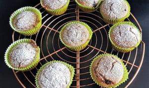 Muffins aux amandes, chocolat noir et farine d'arachides