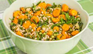 Salade de blé, petits pois carottes