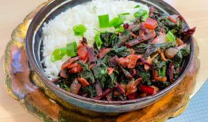 Fanes de betteraves au wok