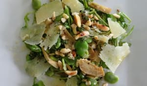 Salade de fèves, artichaut et pecorino