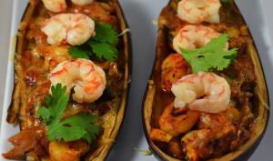 Aubergines gratinées aux crevettes