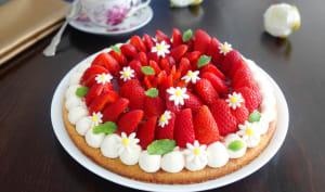 Tarte aux fraises sur sablé breton et crème mascarpone vanille