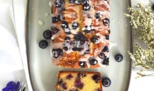 Cake aux myrtilles, amandes citron