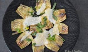 Salade d'artichauts poivrade au parmesan et basilic